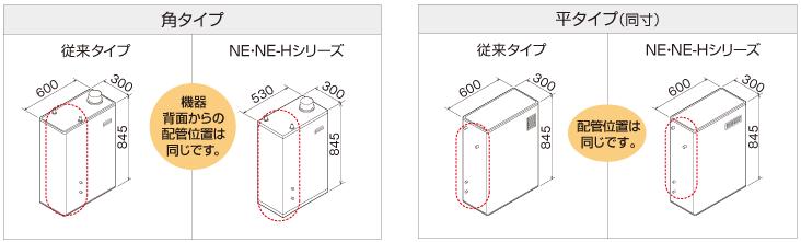 従来タイプと配管位置が同じで、入れ替えもスムーズ。