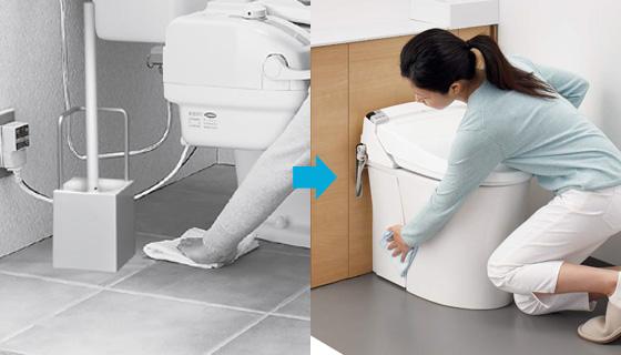 床面はキャビネットの手前を拭くだけだから、お掃除ラクラク。